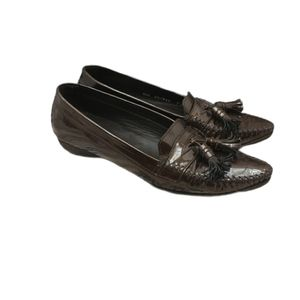 Stuart Weitzman Brown Patent Leather Driving Shoes